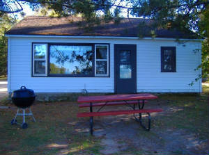 Outside of Cabin #3 with BBQ grill and picnic table